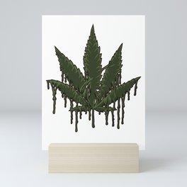 Melting Cannabis Leaf   Marijuana THC CBD Stoner Mini Art Print