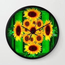 SPRING GREEN EMERALDS & YELLOW FLOWERS  ART Wall Clock