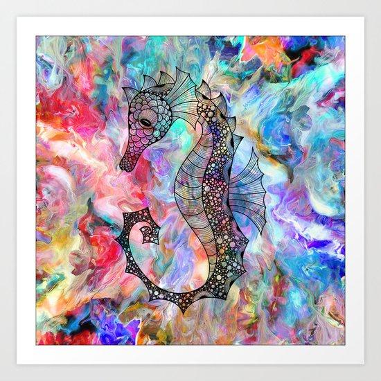 Drawn Seahorse on Colors Art Print