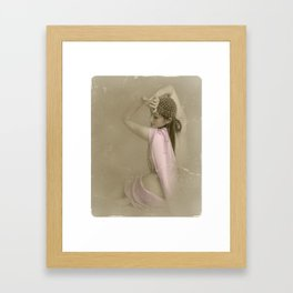 """""""Mattaharish"""" - The Playful Pinup - Vintage Weathered Pinup Girl by Maxwell H. Johnson Framed Art Print"""