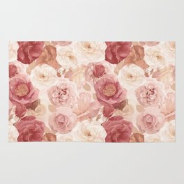 seamless   pattern with roses and leaves . Endless texture Rug
