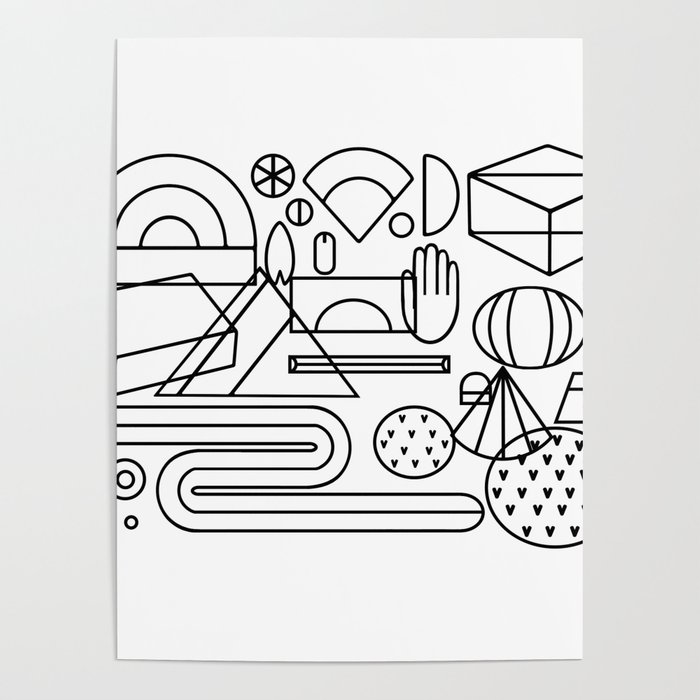 - Geometric Feast; Geometry Pattern; Geometry Illustration;coloring Book  Poster By Fei_qiao Society6