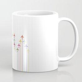 Colorful Aviation Plane Silhouettes Coffee Mug