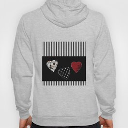 Valentine's day . Love. Black and white striped background .3 hearts . Hoody