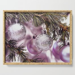 Pink Christmas shimmering baubles twig Serving Tray