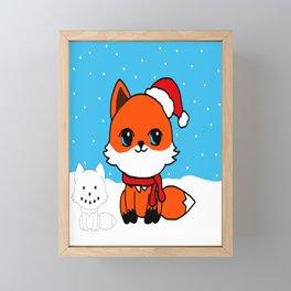 A Fox in the Snow Framed Mini Art Print