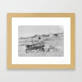 Malta 1994 Farmer plowing a field Framed Art Print