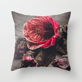 "Abutilon Decay ""Red Tiger"" Throw Pillow"
