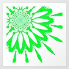 White & Green Modern Flower Art Print