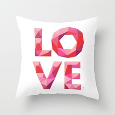 Red Faceted Love Stacked Throw Pillow