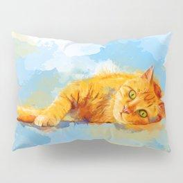 Cat Dream - orange tabby cat painting Pillow Sham