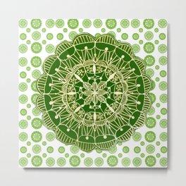 Emerald Green and Gold Mandala Overlay Textile Metal Print