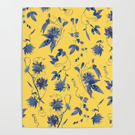 Elegant Blue Passion Flower on Mustard Yellow Poster