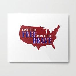 Land of the free, US map Metal Print