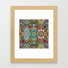Mandala colorful floral oval pattern Framed Art Print