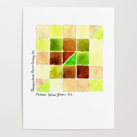 Color Chart Quinacridone Burnt Orange Ds And Phthalo Yellow Green Poster By Anyatoomre Society6