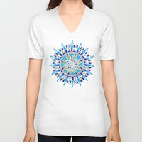 royal V-neck T-shirts featuring Royal Blue Mandala by Cat Coquillette