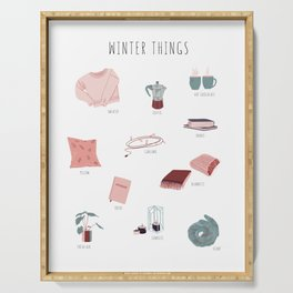Cozy winter things Serving Tray