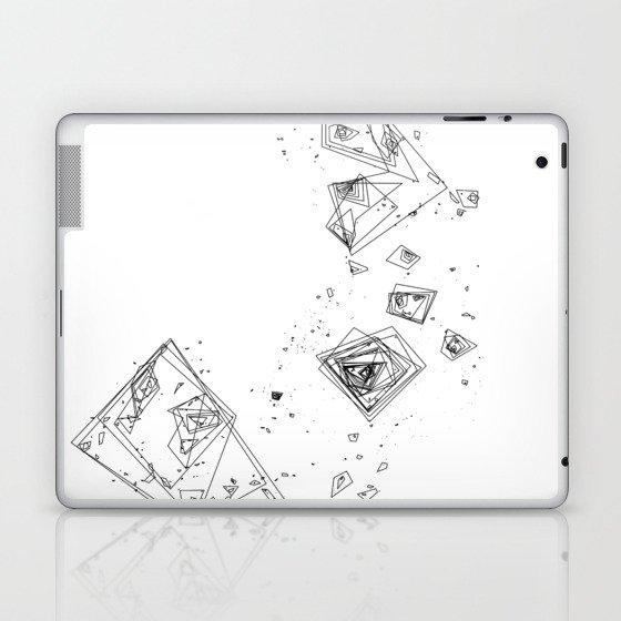 Mountain Vertices, Mt. Shasta, Black Geometric Laptop & iPad Skin