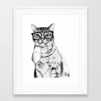 mug Framed Art Prints featuring Mac Cat by florever