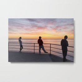 Watching Fishing Texting Metal Print