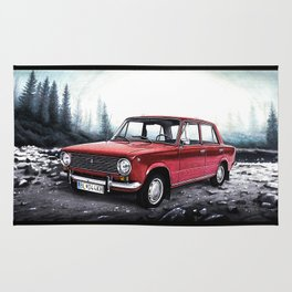 RUSSIAN LADA IN RED WITH SLOVAKIA TATRY MOUNTAINS IN THE BACKGROUND Rug