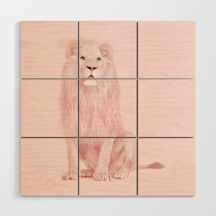 PINK LION Wood Wall Art