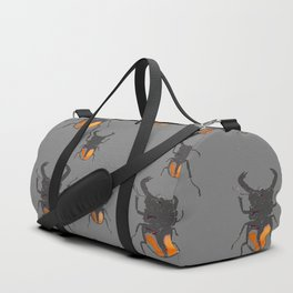 NATURE LOVERS STAG HORNED BEETLES BUG GREY ART M Duffle Bag