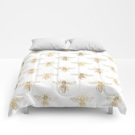 Chic Gold and White Bee Patten Comforters