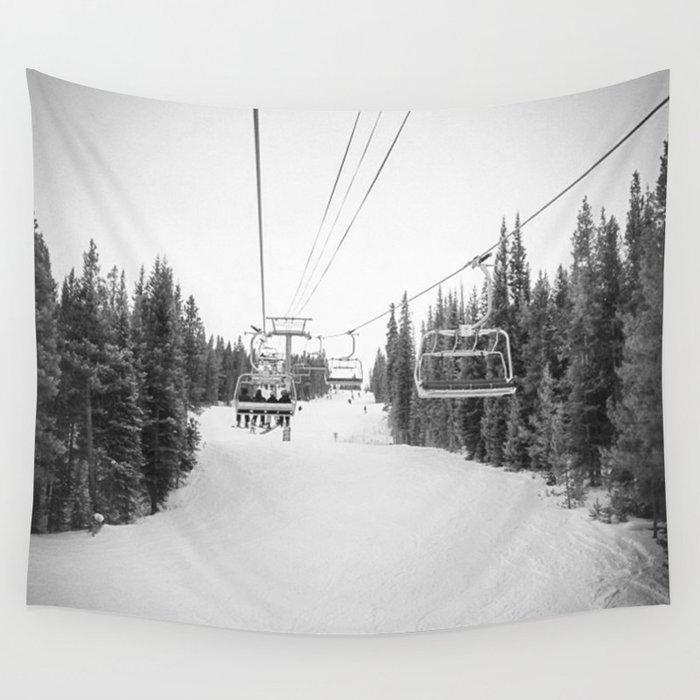 """Ski Lift"" Deep Snow Season Pass Dreams Snowy Winter Mountains Landscape Photography Wall Tapestry"