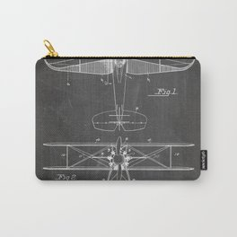 Biplane Patent - Aviation Art - Black Chalkboard Carry-All Pouch