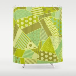 Graphic Leaf Patchwork (Spring Green Bold Colors) Shower Curtain