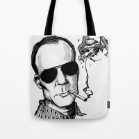 hunter s thompson Tote Bags featuring Hunter S. Thompson by Simone Bellenoit : Art & Illustration
