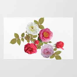 Rose flowers watercolor isolated on white background Rug