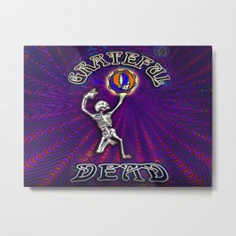 Dancing Skeleton Grateful Dead Character Tapestry Metal Print