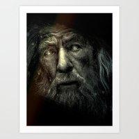 lotr Art Prints featuring Gandalf the Grey. (LOTR Fan Art) by Davide Fiume