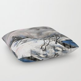 Winter village in the mountains Floor Pillow