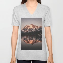 Alpenglow - Mountain Reflection - Nature Photography Unisex V-Neck