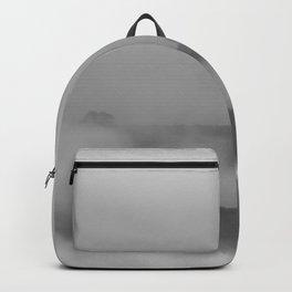 Black and white foggy landscape Backpack