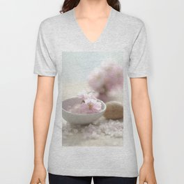 Still life for Bathroom with almond blossoms Unisex V-Neck