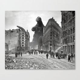 Old Time Godzilla in San Francisco Canvas Print
