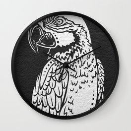 Parrot Sketch - WHITE Wall Clock