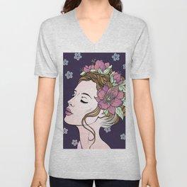 Flower Crown Girl Unisex V-Neck