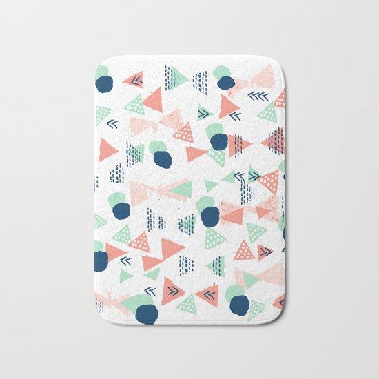 Navy painted shapes polka dots minimal basic decor mint peach and blue pattern Bath Mat