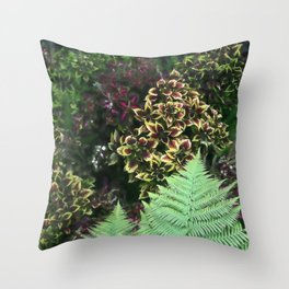 Painted Nettles and Ferns Throw Pillow