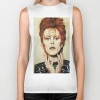 david bowie Biker Tanks featuring Bowie by Taylor Bellah