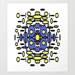 Mod Circle Madness blue yellow and green Art Print