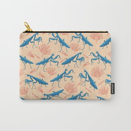 blue mantises and red palms pattern. Carry-All Pouch