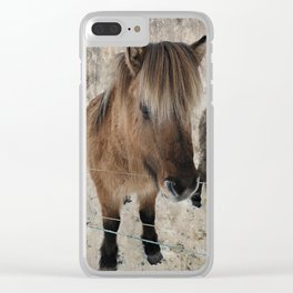 snowy Icelandic horse Clear iPhone Case