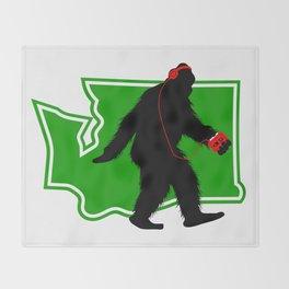 Bigfoot walk in Washington Throw Blanket